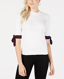 Maison Jules Striped-Sleeve Sweater, Created for Macy's