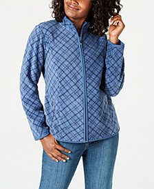 Karen Scott Casual Plaid Zip-Front Jacket, Created for Macy's