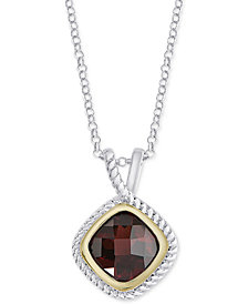 "Rhodolite Garnet Rope Edge 18"" Pendant Necklace (2-1/10 ct. t.w.) in Sterling Silver &  18k Gold-Plate"