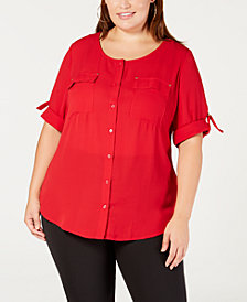 NY Collection Plus & Petite Plus Size Utility Shirt