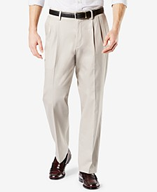 Men's Signature Lux Cotton Relaxed Fit Pleated Creased Stretch Khaki Pants