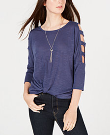 BCX Juniors' Twist-Front Laddered Top & Necklace