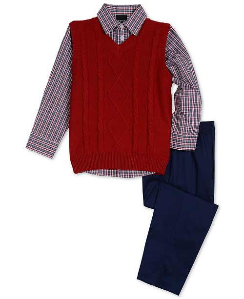 b88a0fa8a TFW Little Boys 3-Pc. Cable-Knit Sweater Vest
