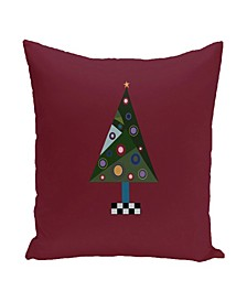 16 Inch Maroon Decorative Christmas Throw Pillow