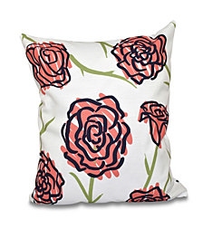 Spring Floral 1 16 Inch Coral and Blue Decorative Floral Throw Pillow