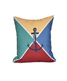 Anchor Flag 16 Inch Yellow Decorative Nautical Throw Pillow