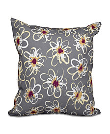 Penelope Floral 16 Inch Gray and Purple Decorative Geometric Throw Pillow