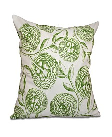Antique Flowers 16 Inch Green Decorative Floral Throw Pillow