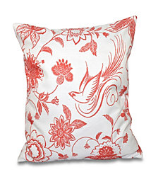 Traditional Bird Floral 16 Inch Coral Decorative Floral Throw Pillow