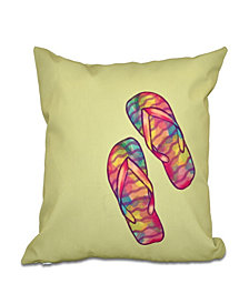 Rainbow Flip Flops 16 Inch Bright Green Decorative Coastal Throw Pillow