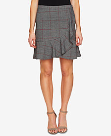 CeCe Plaid Ruffled A-Line Skirt