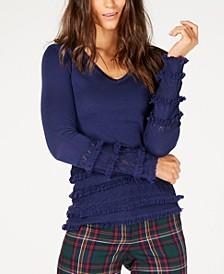 Merino Wool Pointelle Fringe-Trim Sweater