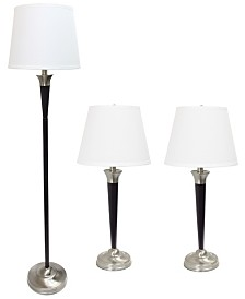 Elegant Designs Malbec Black and Brushed Nickel 3 Pack Lamp Set (2 Table Lamps, 1 Floor Lamp)