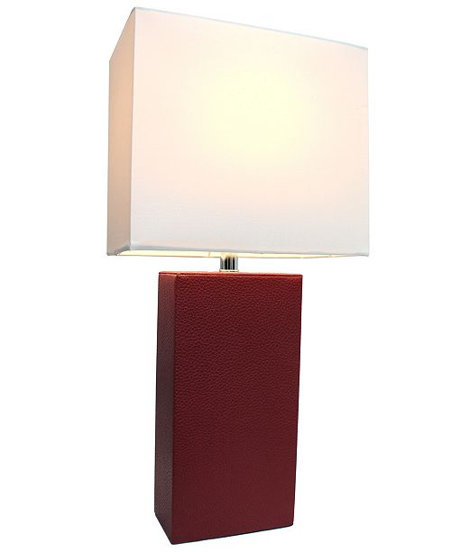 All The Rages Elegant Designs Modern Leather Table Lamp with White Fabric Shade