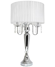 Elegant Designs Trendy Romantic Sheer Shade Table Lamp with Hanging Crystals