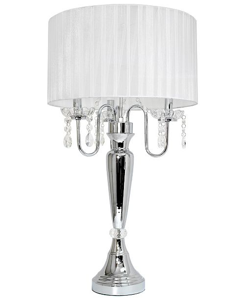 All The Rages Elegant Designs Trendy Romantic Sheer Shade Table Lamp with Hanging Crystals