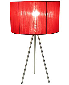 Simple Designs Brushed Nickel Tripod Table Lamp with Pleated Silk Sheer Shade