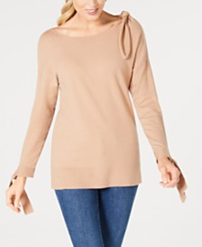 Love Scarlett Petite Bow-Shoulder Sweater
