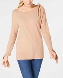 Love Scarlett Petite Bow-Shoulder Sweater