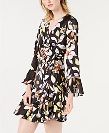 Bar III Printed Faux-Wrap Ruffled Dress, Created for Macy's