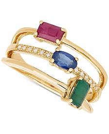 Diamond (1/3 ct. t.w.), Ruby (1/3 ct. t.w.), Sapphire (1/3 ct. t.w.) and Emerald (1/3 ct. t.w.) Stack-Look Ring in 14k Gold