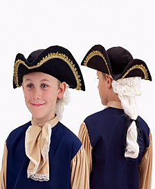 Colonial Hat with Wig Little and Big Boys Accessory