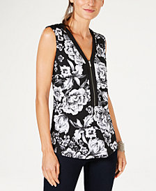 I.N.C. Petite Printed Zip-Up Tank Top, Created for Macy's