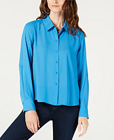 I.N.C. Roll-Tab-Sleeve High-Low Shirt, Created for Macy's