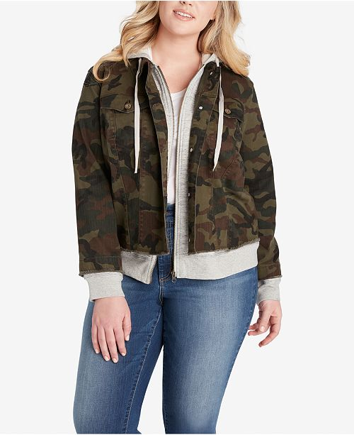 b1540a0b55d ... Jessica Simpson Trendy Plus Size Camo-Print Hoodie Jacket ...