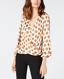 I.N.C. Blouson Polka-Dot Top, Created for Macy's