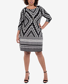 NY Collection Plus Size Necklace Printed Sheath Dress