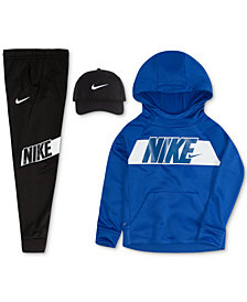 Nike Little Boys Cap, Logo-Print Hoodie & Logo Pants