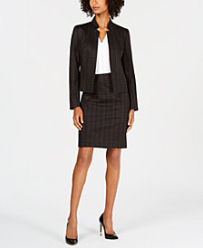Nine West Plaid Blazer & Pencil Skirt