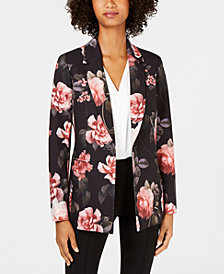 Nine West Floral-Print One-Button Jacket