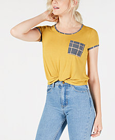 Self Esteem Juniors' Plaid Twist-Front Pocket T-Shirt