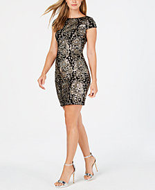 Adrianna Papell Embellished Velvet Sheath Dress