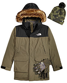 The North Face Little & Big Boys Youth Ski Hat, McMurdo Hooded Parka & Denali Etip Gloves