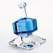Badash Crystal Cobalt Crystal Dreidel Art Glass Sculpture