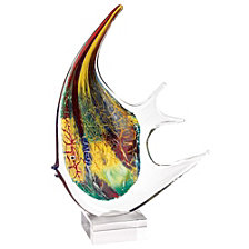 Badash Crystal Firestorm Angel Fish Art Glass Sculpture