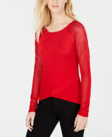 Say What? Juniors' Crisscross Contrast Sweater