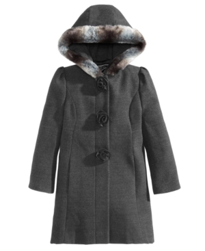 S Rothschild  Co Little Girls Hooded Coat with Faux Fur Trim
