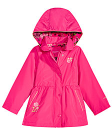 London Fog Toddler Girls Embrodiered Hooded Trench Coat