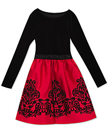 Rare Editions Big Girls Velvet Flocked Satin Dress