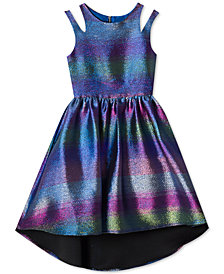 Rare Editions Big Girls Rainbow Metallic Jacquard Dress