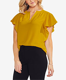 Vince Camuto Split-Neck Flutter-Sleeve Top