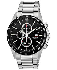 Citizen Men's Chronograph Quartz Stainless Steel Bracelet Watch, Created for Macy's, 42mm