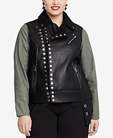 RACHEL Rachel Roy Trendy Plus Size Studded Faux-Leather Moto Jacket