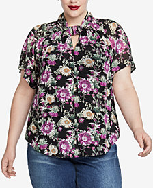 RACHEL Rachel Roy Trendy Plus Size Twist-Neck Top