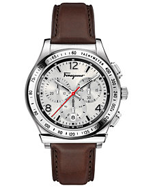 Ferragamo Men's Swiss Chronograph 1898 Brown Leather Strap Watch 42mm