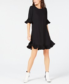 Alfani Petite Pleated-Trim Flounce Dress, Created for Macy's